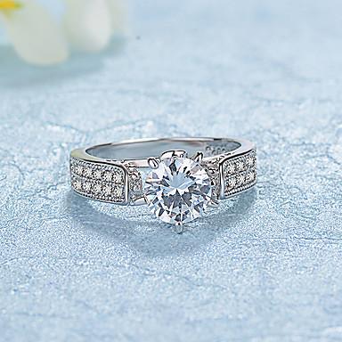 Dames Bandringen Zirkonia Modieus Elegant Platina Verguld Rond Sieraden Bruiloft Verloving Dagelijks Ceremonie