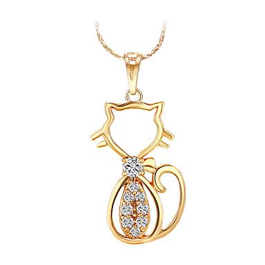 d4fa0a40a8 Női Szintetikus gyémánt Nyaklánc medálok Rose Gold Cat Állat Személyre  szabott Luxus Vintage Szexi Vörös arany
