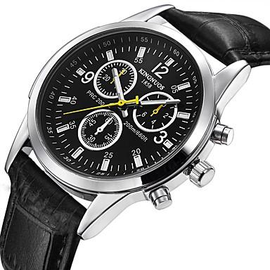 Heren Sporthorloge Modieus horloge Unieke creatieve horloge Vrijetijdshorloge Chinees Kwarts Kalender Waterbestendig Leer Band Amulet