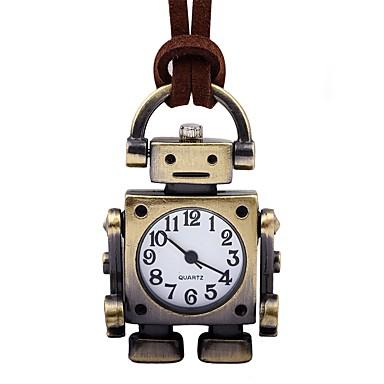 Homens Mulheres Relógio de Bolso Chinês Mecânico - de dar corda manualmente Relógio Casual Couro Banda Vintage Criativo Marrom
