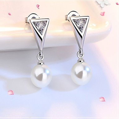 Pentru femei Zirconiu Cubic / Perle Franjuri Cercei Stud - Zirconiu Lux, Modă Argintiu Pentru Zilnic / Muncă