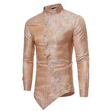 billige Herrers Mode Beklædning-Stående krave Tynd Herre - Ensfarvet Jacquard Luksus Skjorte Beige M / Langærmet