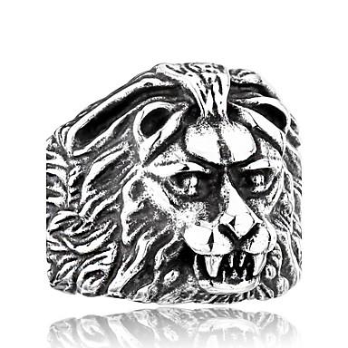 Bărbați Teak Altele / Leu - Design Animal / Modă Negru / Argintiu Inel Pentru Zilnic / Casual
