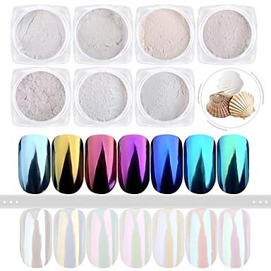 1set 7pcs Pulbere acrilică / Pudră / Pulbere cu sclipici Elegant & Luxos / Efectul de oglindă / Strălucitor & Sclipitor Nail Art Design