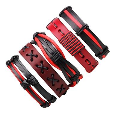 Муж. / Жен. Wrap Браслеты / Кожаные браслеты - Кожа Богемные Браслеты Красный Назначение Подарок / На выход