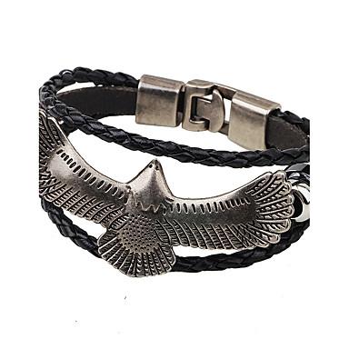 voordelige Heren Armband-Heren Dames Lederen armbanden geweven Eagle Modieus Hip-hop Verguld Armband sieraden Zwart / Koffie Voor Causaal Club