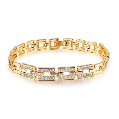 Pentru femei Zirconiu Cubic Zirconiu Placat Auriu Adorabil Lux Brățări cu Lanț & Legături - Lux De Bază Modă Line Shape Auriu Brățări