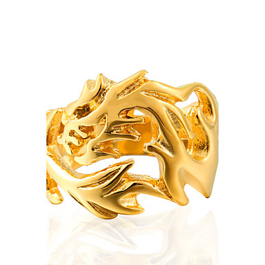 ieftine Inele-Bărbați Inel Teak Oțel titan Vintage Modă Inele la Modă Bijuterii Auriu / Negru / Argintiu Pentru Zilnic Casual 7 / 8 / 9 / 10 / 11