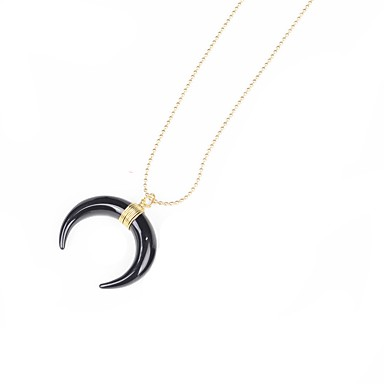 d7f919cf50 Men's Women's Pendant Necklace Geometrical Crescent Moon Bohemian Natural  Horns Stainless Steel Gold Silver Necklace Jewelry For Party Stage #06240141