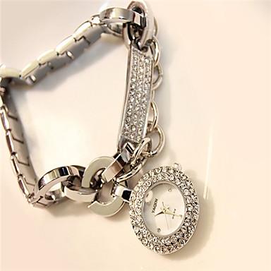Pentru femei Simulat Diamant Ceas Quartz Aliaj Bandă Sclipici Argint