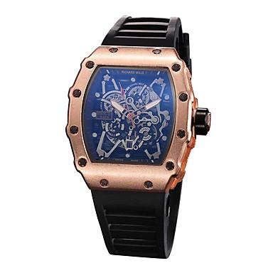 levne Pánské-Pánské Náramkové hodinky Square Watch Křemenný Silikon Černá Voděodolné Chronograf S dutým gravírováním Analogové dámy Vintage Na běžné nošení Skládaný Módní - Zlatá Černá Stříbrná / Nerez