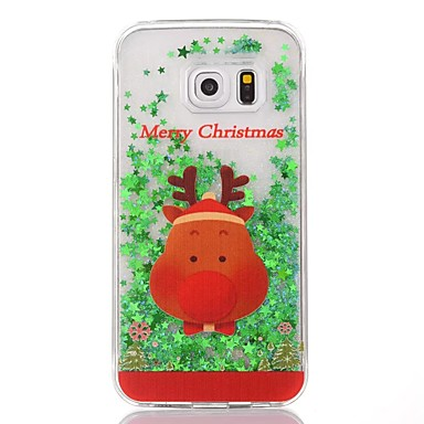 pentru capacul de acoperire care curge lichid transparent model de spate acoperă caz Crăciun hard PC pentru Samsung Galaxy S6 margine