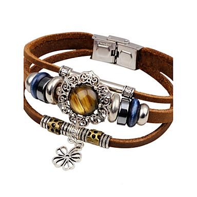 economico Bracciali-Per uomo Turchese Bracciali in pelle Solari Fiore decorativo Vintage Di tendenza Pelle Gioielli braccialetto Nero / Marrone Per Casual Per uscire