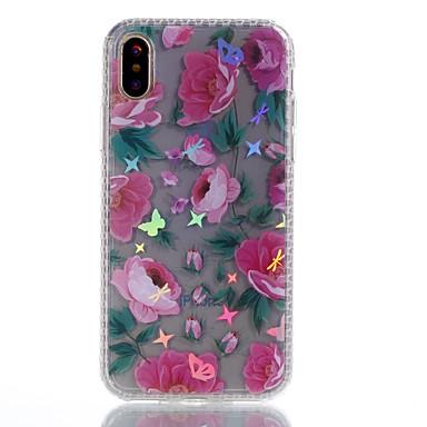 Maska Pentru Apple iPhone X iPhone 8 Plus Placare IMD Model Capac Spate Fluture Floare Moale TPU pentru iPhone X iPhone 8 Plus iPhone 8