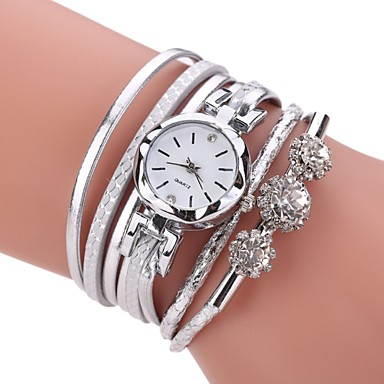 Women S Bracelet Watch Simulated Diamond Quartz Black White Blue Imitation Og Las