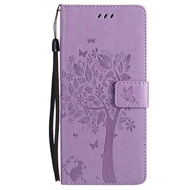 cheap Galaxy Note 4 Cases / Covers-Case For Samsung Galaxy Note 8 / Note 5 / Note 4 Wallet / Card Holder / with Stand Full Body Cases Cat / Butterfly / Tree Hard PU Leather