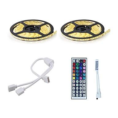 billige LED & Belysning-10 m Lyssæt 600 lysdioder 5050 SMD RGB Fjernbetjening / Chippable / Dæmpbar 12 V 1set / IP65 / Vandtæt / Koblingsbar / Selvklæbende / Farveskiftende
