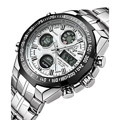 levne Pánské-Pánské Digitální hodinky japonština Nerez Stříbro 30 m Voděodolné Alarm Kalendář Analog - Digitál Přívěšky Luxus Vintage Na běžné nošení Skládaný - Bílá Černá Modrá / Svítící / Stopky