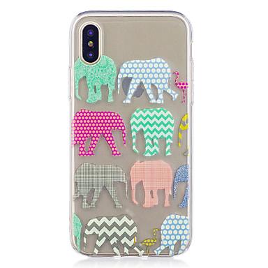 Pentru iPhone X iPhone 8 Plus Carcase Huse Model Carcasă Spate Maska Linii / Valuri Elefant Moale TPU pentru Apple iPhone X iPhone 8 Plus