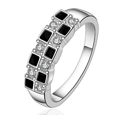 Pentru femei Zirconiu Cubic Argilă Band Ring - Geometric Shape De Bază / Modă Negru Inel Pentru Petrecere / Birou și carieră
