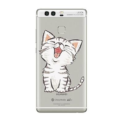 voordelige Huawei Mate hoesjes / covers-hoesje Voor Huawei P9 / Huawei P9 Lite / Huawei P8 P10 Plus / P10 Lite / P10 Transparant / Patroon Achterkant Kat / Transparant Zacht TPU / Huawei P9 Plus / Mate 9 Pro