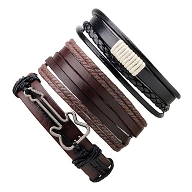 c5f37395a Men's Women's Rope Twisted woven Wrap Bracelet Leather Bracelet Leather  Guitar Bracelet Jewelry Coffee For Gift Going out #06267542