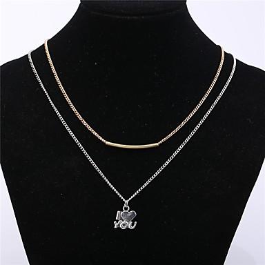 Недорогие Модные ожерелья-Жен. Ожерелья с подвесками Сердце Классический Мода Сплав Серебряный Ожерелье Бижутерия 1шт Назначение Повседневные