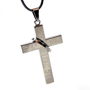 Homme Collier court / Ras-du-cou / Pendentif de collier  -  Cuir Croix Classique, Mode Gris Colliers Tendance Pour Décontracté, Sortie