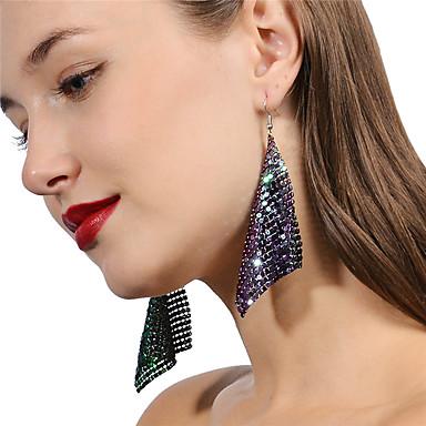 Women's Long Drop Earrings Hoop Earrings Silver Plated Gold Plated Earrings stardust Ladies Oversized Jewelry Gold / Silver / Rainbow For Party Club