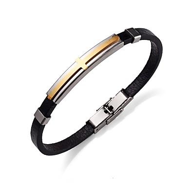 voordelige Heren Armband-Dames Lederen armbanden Armband Sideways Cross Kruis Dames Eenvoudig Rock Roestvast staal Armband sieraden Goud / Zwart Voor Straat Uitgaan