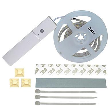 hkv bandes lumineuses led flexibles 60 led blanc chaud blanc capteur de corps dc 4 5v. Black Bedroom Furniture Sets. Home Design Ideas