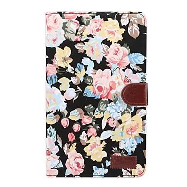 voordelige Samsung Tab-serie hoesjes / covers-hoesje Voor Samsung Galaxy Tab A 8.0 (2017) Kaarthouder / met standaard / Flip Volledig hoesje Bloem Hard tekstiili