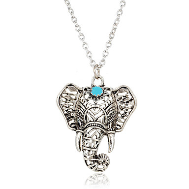 Women's Pendant Necklaces Turquoise Elephant Silver Plated Turquoise Animal Design Bohemian Jewelry For Casual Street