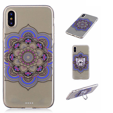 anello disegno Per 8 iPhone iPhone Fiori Per Supporto 8 ad retro X X iPhone Custodia Plus iPhone Morbido Apple iPhone TPU per Fantasia Transparente Mandala 06267957 8 8qXfPw