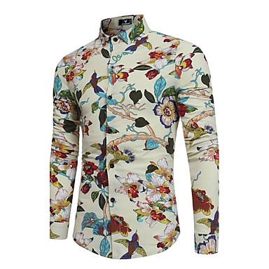 billige Herrers Mode Beklædning-Klassisk krave Tynd Herre - Blomstret Bomuld / Hør, Trykt mønster Boheme Fest Skjorte Sort XL / Langærmet