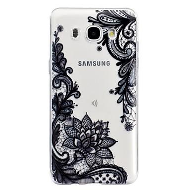 voordelige Galaxy J-serie hoesjes / covers-hoesje Voor Samsung Galaxy J7 (2016) / J5 (2017) / J5 (2016) Transparant / Reliëfopdruk / Patroon Achterkant Lace Printing Zacht TPU