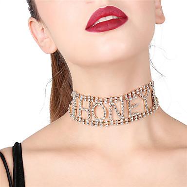 billige Mode Halskæde-Dame geometrisk Hot Fix Kort halskæde Erklæring Guld Sølv Halskæder Smykker Til Fest Gave