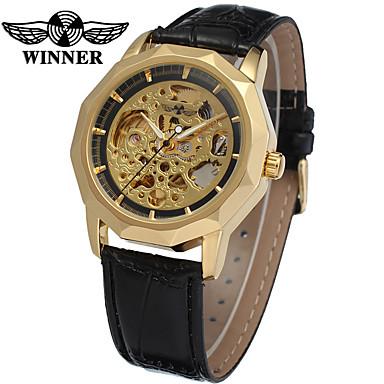 WINNER Men's Skeleton Watch Wrist Watch Mechanical Watch Automatic self-winding Leather Black 30 m