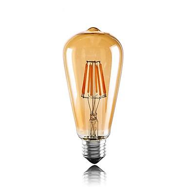 1pc 6W 560lm E26 / E27 Ampoules à Filament LED ST64 6 Perles LED COB Décorative Blanc Chaud 220-240V