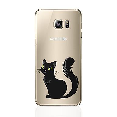 Недорогие Чехлы и кейсы для Galaxy S6-Кейс для Назначение SSamsung Galaxy S8 Plus / S8 / S7 edge С узором Кейс на заднюю панель Кот Мягкий ТПУ