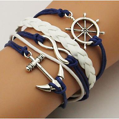 economico Bracciali-Per donna Unisex Dell'involucro del braccialetto Bracciali in pelle Corda Attorcigliato Ancora Semplice Essenziale Pelle Gioielli braccialetto Blu scuro Per Casual Per uscire