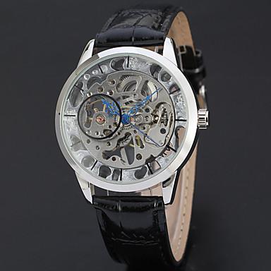 6e59576719b WINNER Homens Relógio Esqueleto Relógio de Pulso Mecânico - de dar corda  manualmente Couro Preta 30