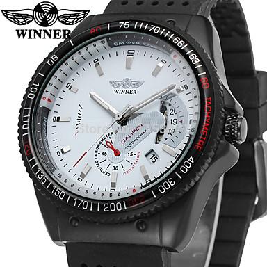 WINNER Pánské Náramkové hodinky Automatické natahování Silikon Černá 30 m Kalendář Analogové Vintage Na běžné nošení Módní - Bílá