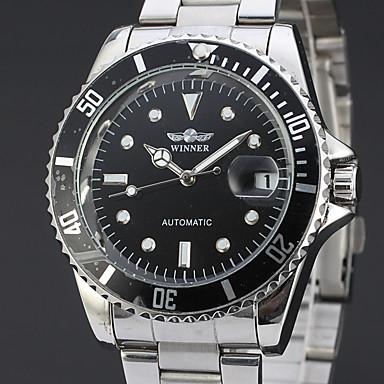 Χαμηλού Κόστους Ανδρικά ρολόγια-WINNER Ανδρικά Ρολόι Φορέματος Ρολόι Καρπού μηχανικό ρολόι Αυτόματο κούρδισμα Ανοξείδωτο Ατσάλι Ασημί 30 m Ημερολόγιο Αναλογικό Πολυτέλεια Κλασσικό Καθημερινό - Μαύρο