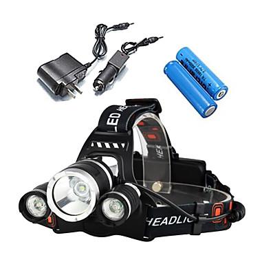 LS052 Kafa Lambaları Bisiklet Işıkları Bisiklet Farı LED Cree® XM-L T6 3 Emitörler 3000 lm 4.0 Işıtma Modu Piller ve Şarj Aletleri ile Su Geçirmez, Darbeye Dayanıklı, Şarj Edilebilir Kamp / Yürüy