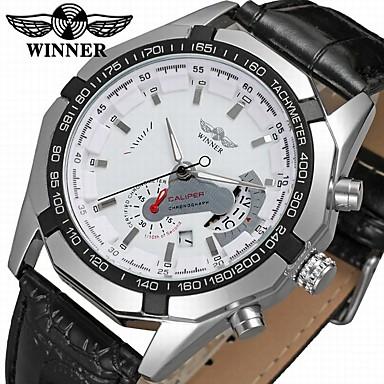 WINNER Men's Fashion Watch Dress Watch Wrist Watch Automatic self-winding Leather Black 30 m