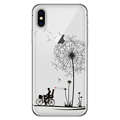 olcso iPhone 5 tokok-Case Kompatibilitás Apple iPhone X / iPhone 8 Plus Minta Fekete tok Pitypang Puha TPU mert iPhone X / iPhone 8 Plus / iPhone 8