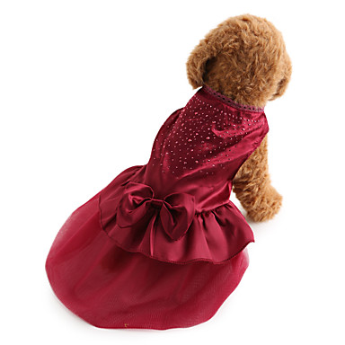 cheap Dog Clothing & Accessories-Dog Dress Dog Clothes Solid Colored Sequin Red Blue Terylene Costume For Bichon Frise Schnauzer Pekingese Spring &  Fall Summer Women's Holiday Wedding Fashion