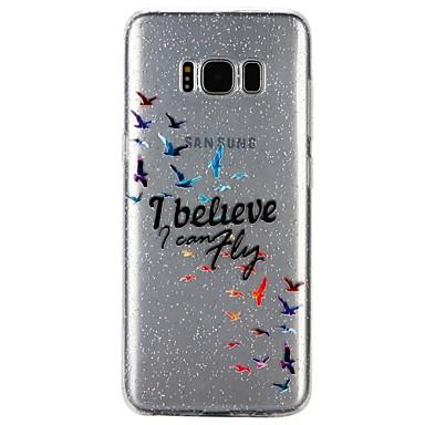Недорогие Чехлы и кейсы для Galaxy S6-Кейс для Назначение SSamsung Galaxy S8 / S7 / S6 Полупрозрачный / Рельефный / С узором Кейс на заднюю панель Слова / выражения / Мультипликация / Сияние и блеск Мягкий ТПУ