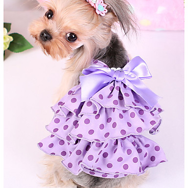 Dog Dress Dog Clothes Casual/Daily Polka Dot Purple Pink Costume For Pets